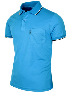 Short sleeve dri fit collar 2 line point polo shirt for Dri fit collar shirts