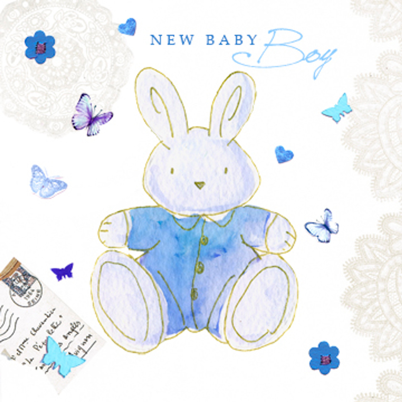 New baby boy bunny rabbit greeting card baby shower host new baby boy bunny rabbit greeting card m4hsunfo