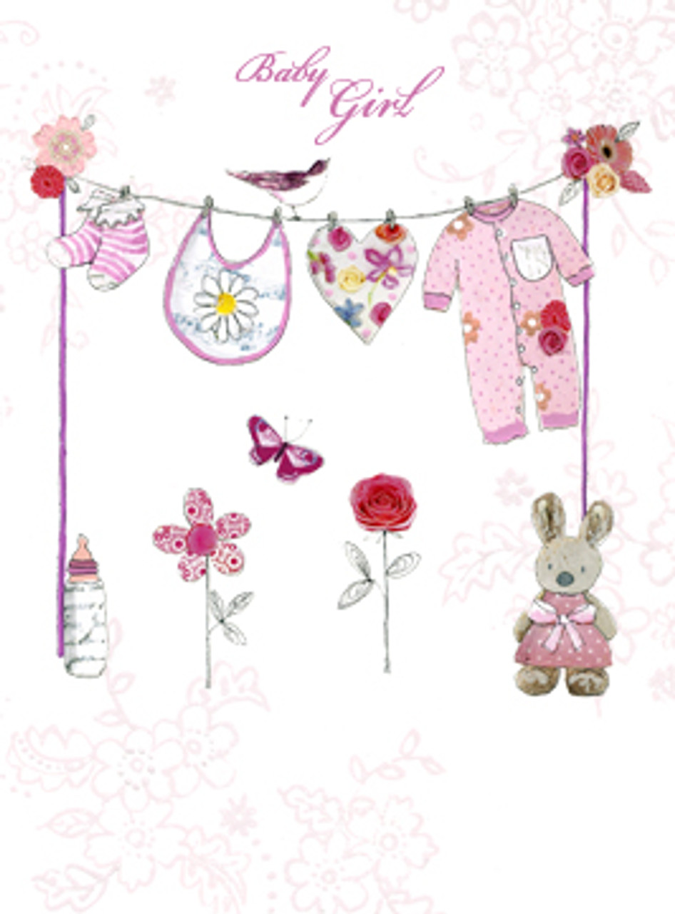 Baby Girl Clothes Washing Line Greeting Card Baby Shower