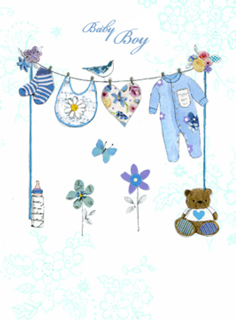 baby boy clothes line greeting card