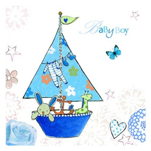 Baby shower greeting cards baby boy blue sailing boat greetings card m4hsunfo
