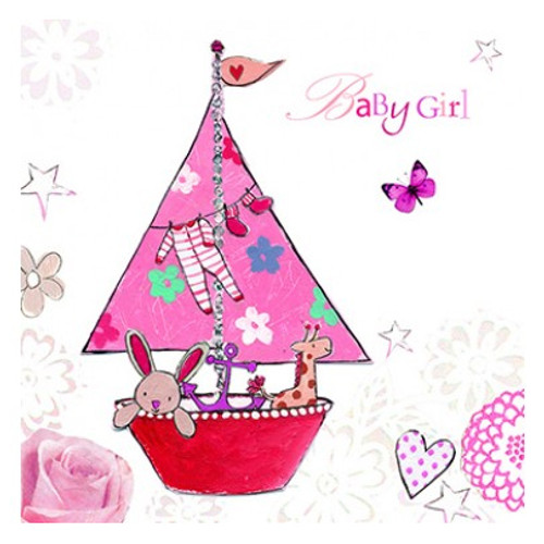 Baby shower greeting cards baby girl pink sailing boat greetings card m4hsunfo