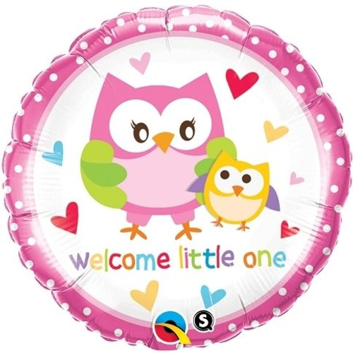 Welcome Little One Owl baby Foil balloon (18in)