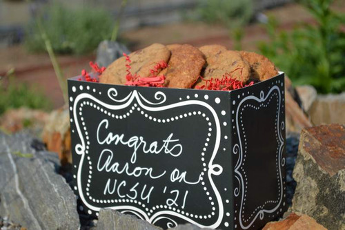 College students love cookies - send them this basket with your special message hand-written on the basket.