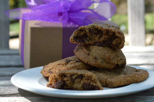 A small gift box of gourmet artisan cookies.
