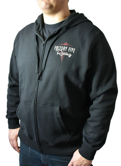 #16539 - Factory Five '50s Style Logo Black Hoodie (Zip-Up)