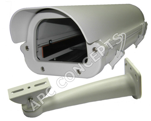 CCTV Body Camera Housing + Bracket With Heater & Fan 12V DC Ivory Colour