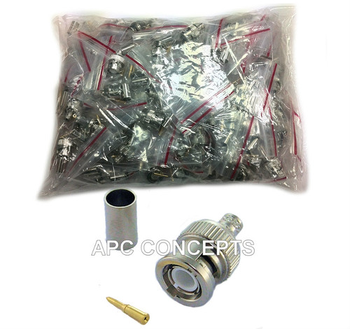 100 Pack RG59 3 Part BNC HD Crimp Suitable For RG59 Coaxial Cable Suitable for HD upto 8mp 4k