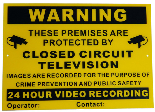 Large CCTV Warning Sign A3 0.7mm Thickness Flexible Polycarbonate Can be Used Inside or Outside