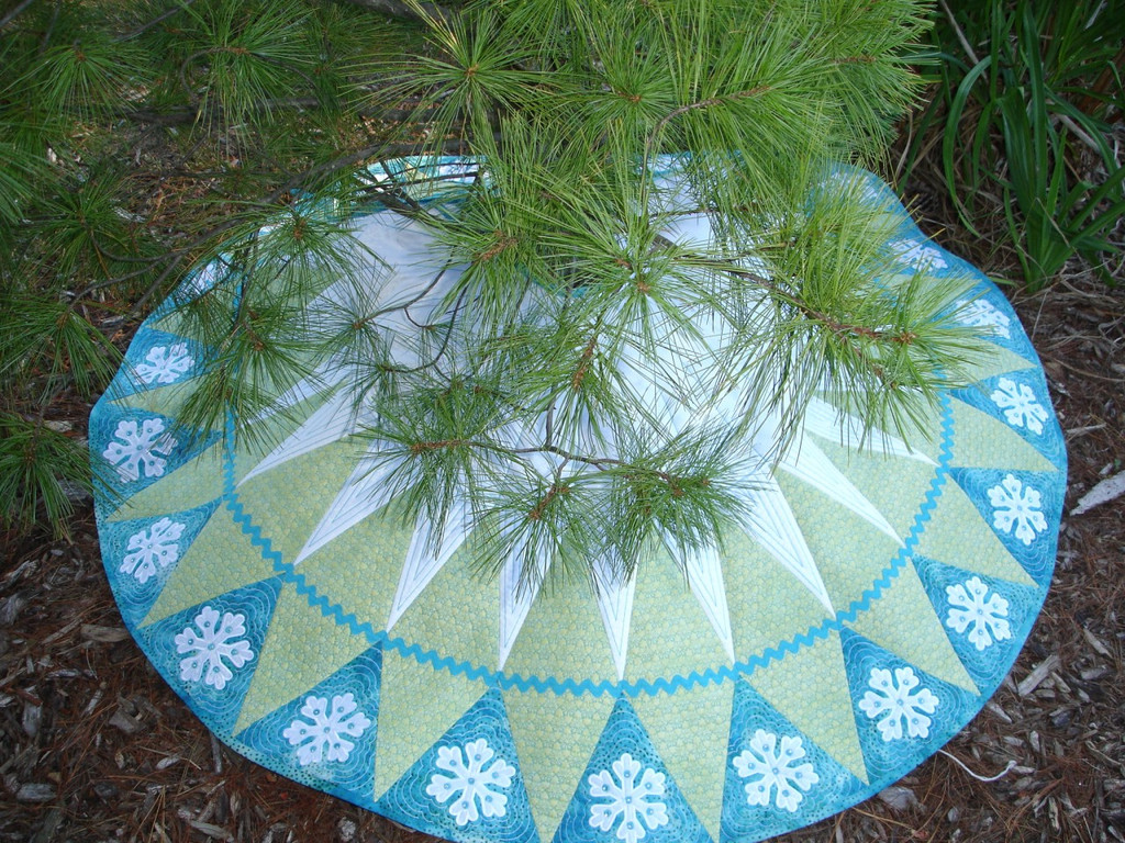 let it snow - Teal Christmas Tree Skirt