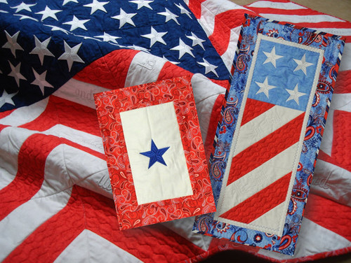 "HoopSisters ""Old Glory"" design makes a large flag quilt, a Blue Star Service Banner, and Lil' Glory."