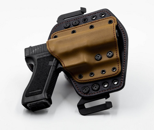 "Deep Carry 1 with ""Quick Mount"" belt mounts. Coyote on Brown"