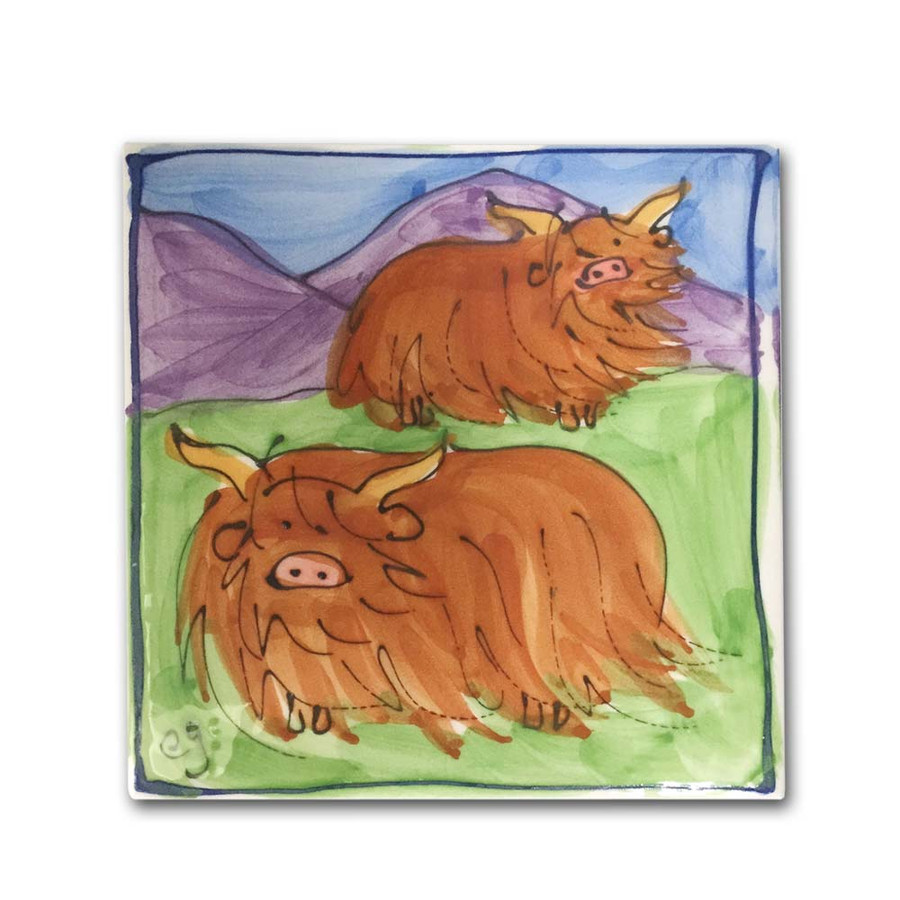 Highland Cow Twins Hand Painted Ceramic Tile