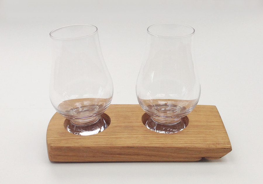 Whisky Barrel Holder for Two Glasses