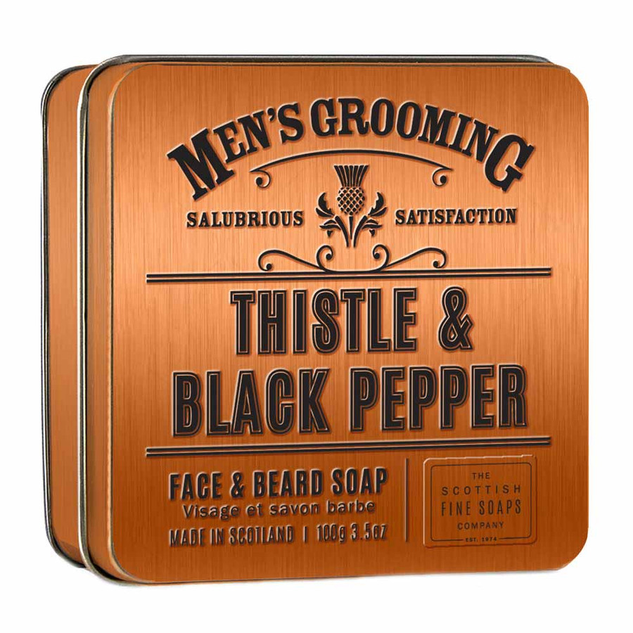 Thistle and Black Pepper Face and Beard Soap in a Tin