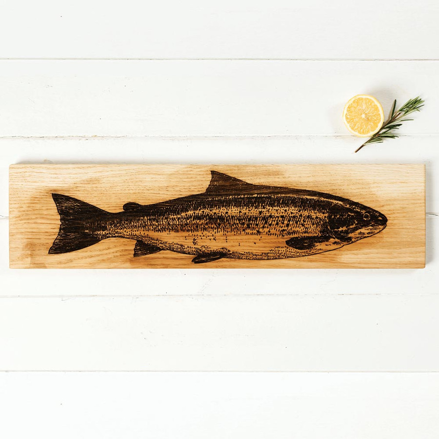 Scottish Salmon Engraved Large Oak Serving Platter