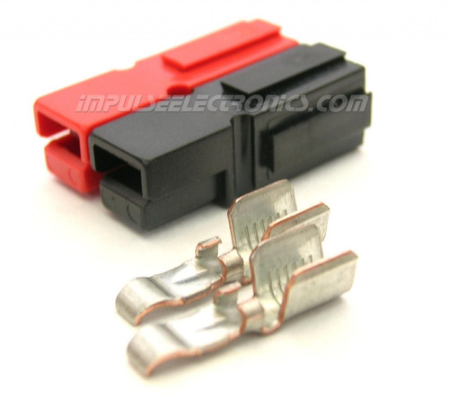 Powerpole Connector, 45 Amp Contacts, Red & Black Housings, Bonded
