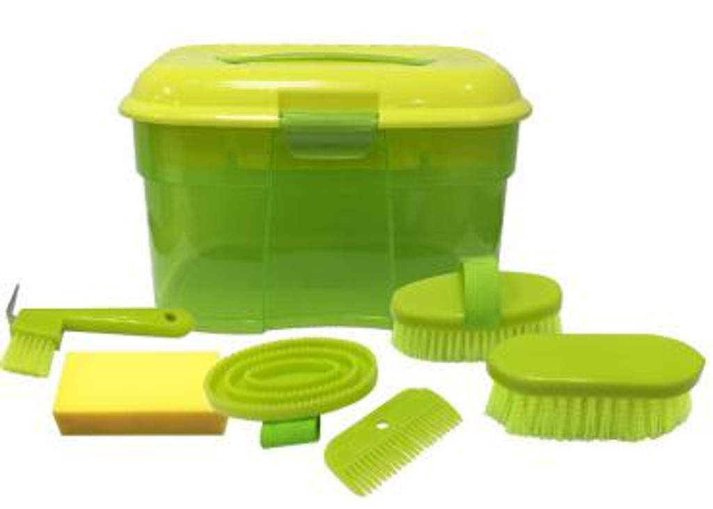 CLEARANCE: Colourful 7 Piece Grooming Box (Lime Green)