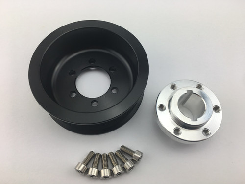 "3.50"" 2pc 8 Rib ""Offset""  Black L3 (Pulley Only)"