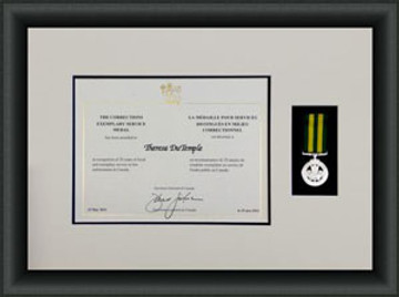 Sample of certificate and Medal Framed