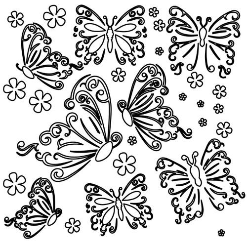 Large Butterflies Design Template