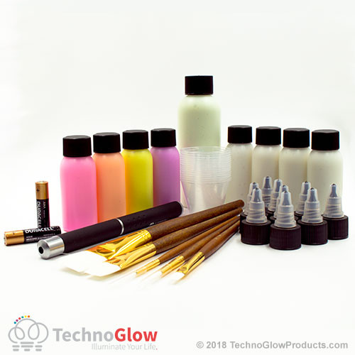 techno glow paint set