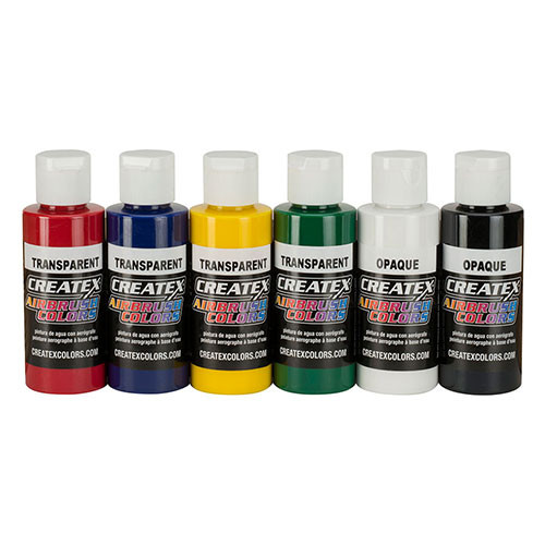 createx 6 pack primary airbrush paint set with dvd