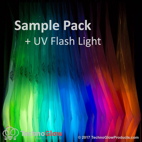 21 Color Glow Powder Sample Kit with a UV Flashlight