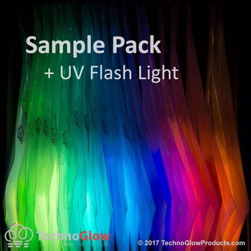 21 Color Glow Powder Sample Kit with a UV Flashlight