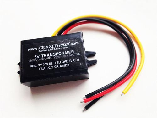 5V Converter – Stepdown Transformer, Input 12V, 24V, up to 30V for Aircraft / Airplane