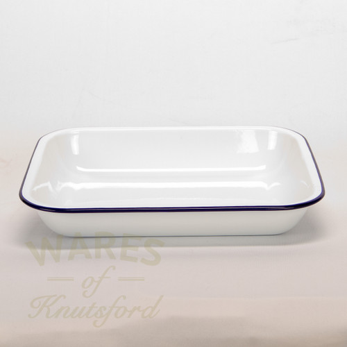 Buy Traditional White With Blue Rim Enamelware At Wares Of