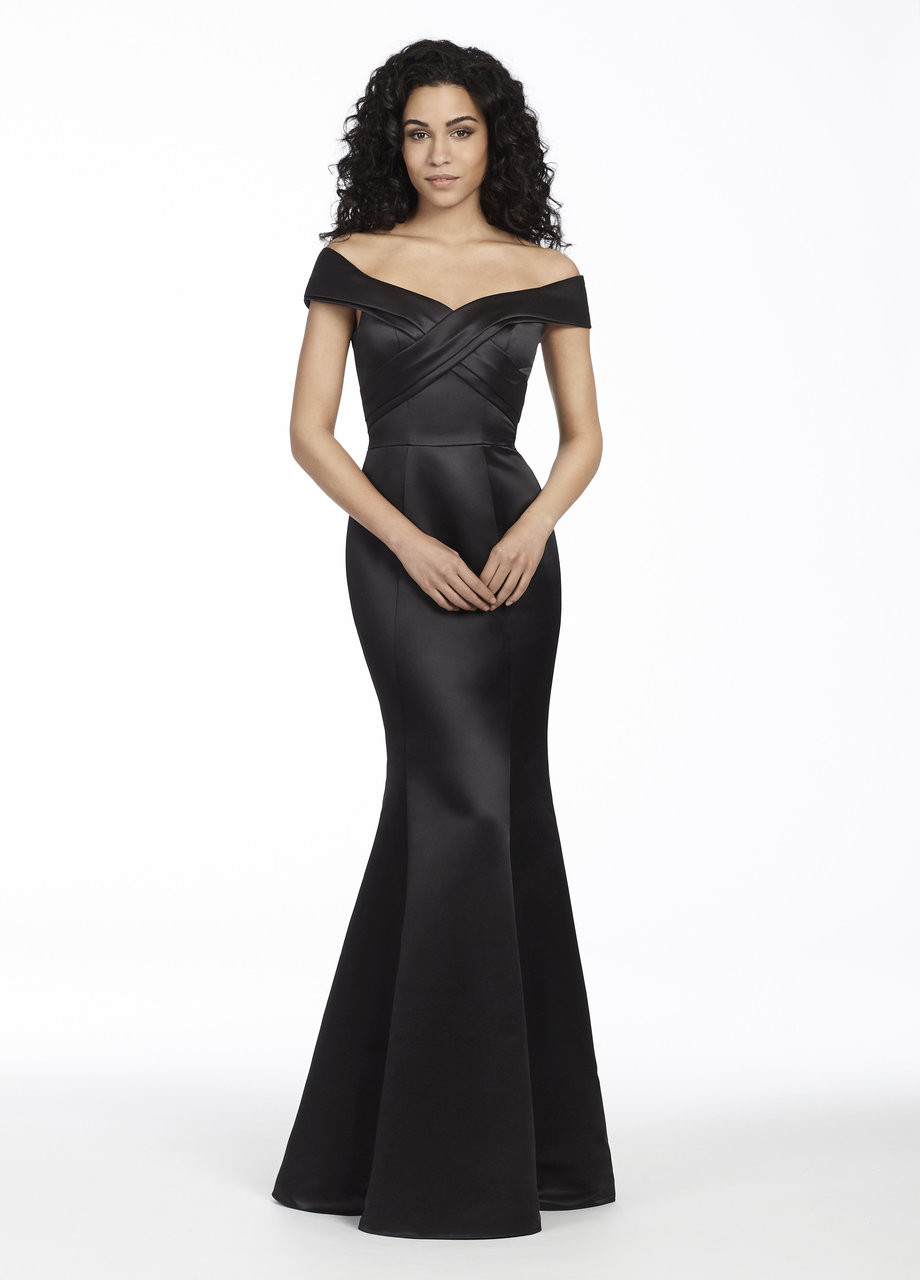 Hayley paige occasions 5754 bridals by lori black satin trumpet bridesmaid gown off the shoulder crossover draped bodice natural waist ombrellifo Choice Image