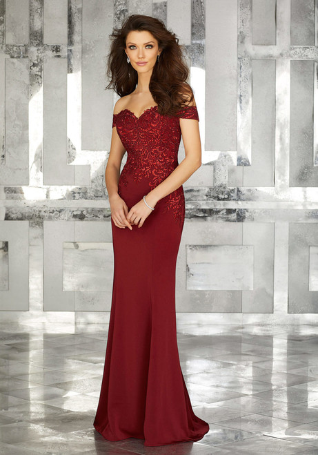 Form Fitting Special Occasion Gown with Beaded Embroidery on Crepe