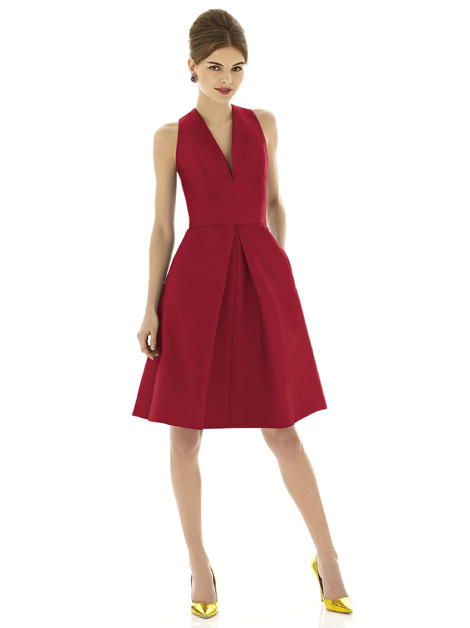Alfred Sung Style D610  Fabric: Dupioni Cocktail length v-neck dupioni dress w/ inset waistband and inverted pleat at front and back skirt. Pockets at side seams of skirt. Also available full length as style D611.