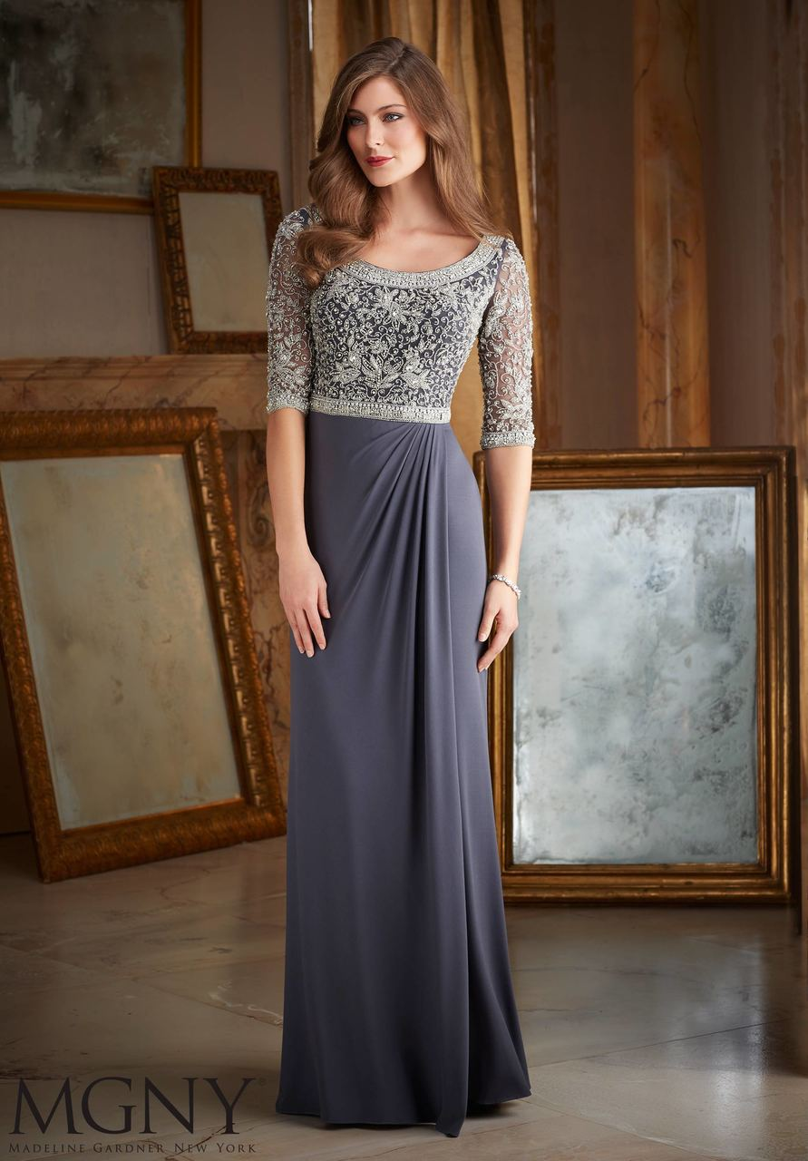 e87e5d41ad2 BACK TO COLLECTION Evening Gown 71401 INTRICATE BEADING ON JERSEY Colors  available  Charcoal