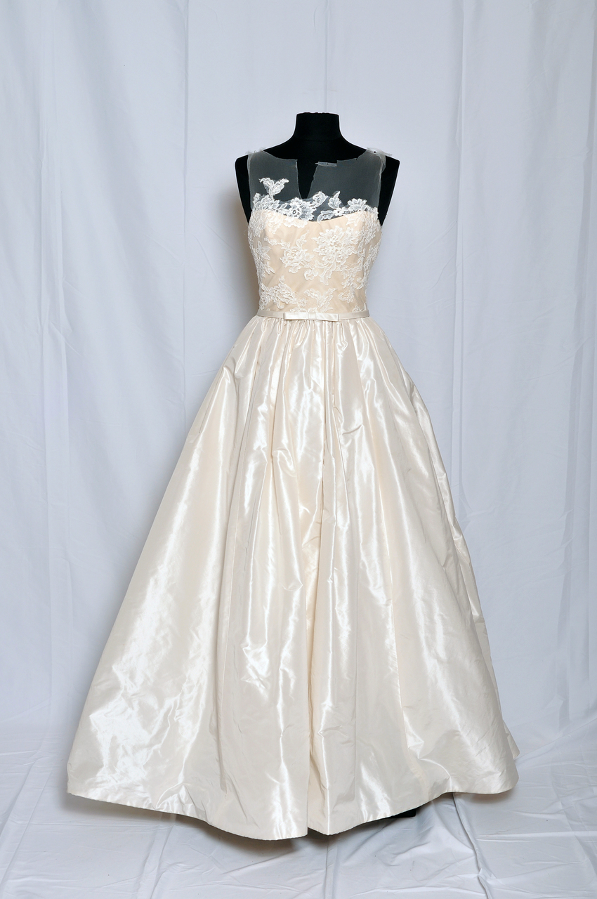 Amsale Bridal RYAN Silk taffeta natural waist ballgown with corded lace bodice.