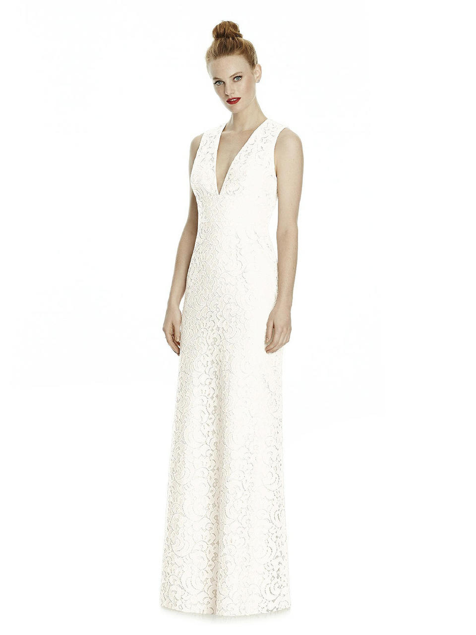 Full length sleeveless gabriella lace dress w/ deep v-neckline and triangle cut out back. Ivory or blush lace over any color matte lining. A-line skirt.