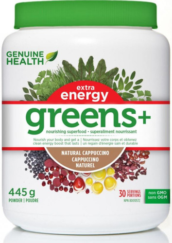 Genuine Health: Greens+ Extra Energy - Natural Cappucino (445g)