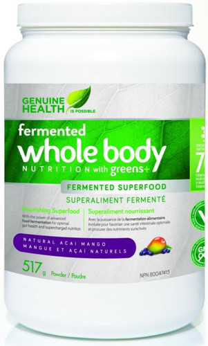 Genuine Health: Fermented Whole Body Nutrition w/ greens+ - Natural Acai Mango (517g)