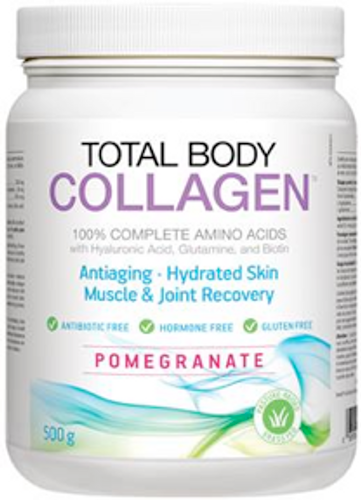 Total Body Collagen: 100% Complete Amino Acids with Hyaluronic Acid, Glutamine and Biotin - Pomegranate (500g)