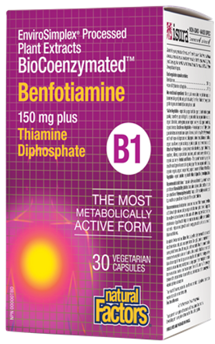 Natural Factors: BioCoenzymated Benfotiamine B1 (150 mg) plus Thiamine Diphosphate (30 Vegetarian Capsules)