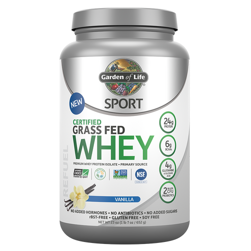 Garden of Life: SPORT Certified Grass Fed Whey Protein Powder - Vanilla (652g)