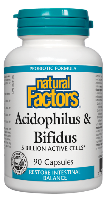 Natural Factors: Acidophilus & Bifidus (90 Capsules)