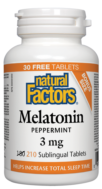 Natural Factors: Melatonin (3mg) BONUS (210 Sublingual Tablets)
