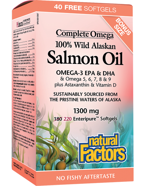 Natural Factors: 100% Wild Alaskan Salmon Oil (1300mg) (BONUS) (220 Softgels)