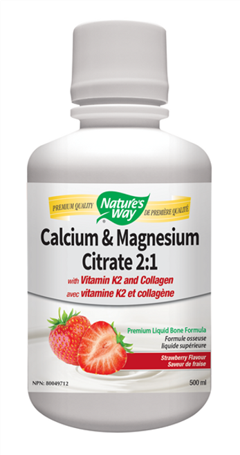 Nature's Way: Calcium & Magnesium Citrate 2:1 With Vitamin K2 And Collagen - Strawberry (500ml)