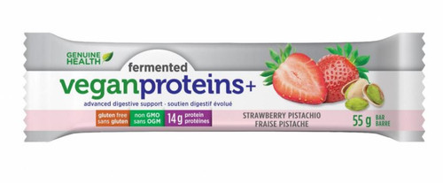 Genuine Health: Fermented Vegan Proteins+ Bar - Strawberry Pistachio (55g)