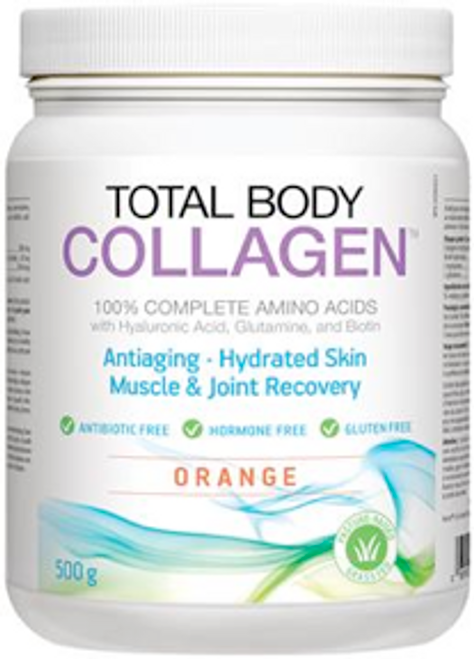 Total Body Collagen: 100% Complete Amino Acids with Hyaluronic Acid, Glutamine and Biotin - Orange (500g)