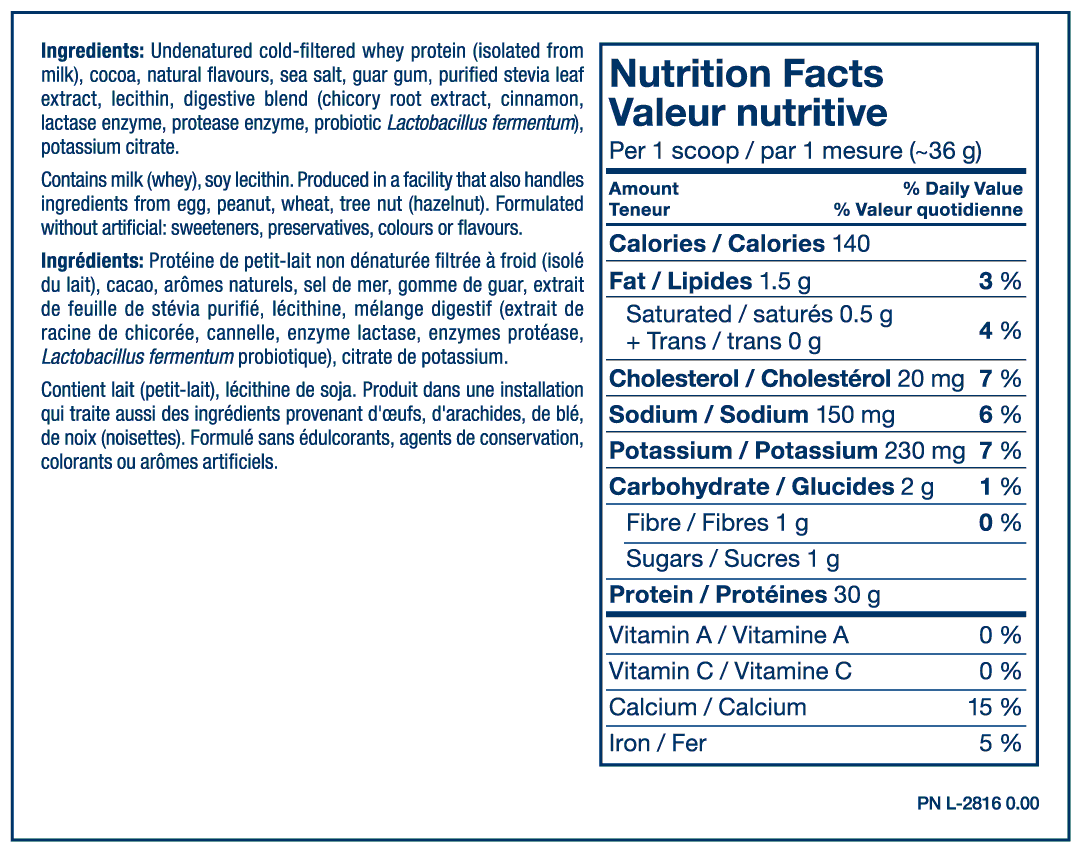 Iso Whey Chocolate Ingredients