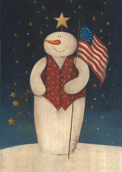 Flag Waving Snowman - Garden Flag by Toland